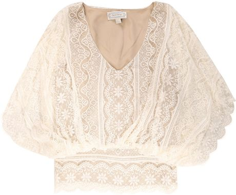 Beyond Vintage Dolman Sleeve Lace Blouse in Beige (ivory) - Lyst