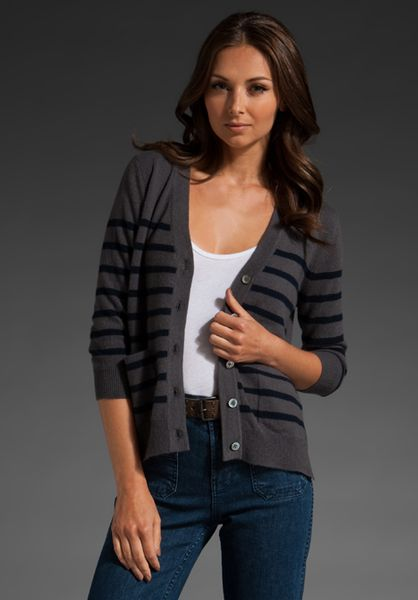Demylee Chase Striped Cashmere Cardigan in Steel Grey/navy in Gray (steel)