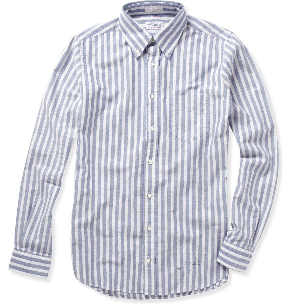 Gant Rugger Striped Button Down Oxford Shirt In Blue For