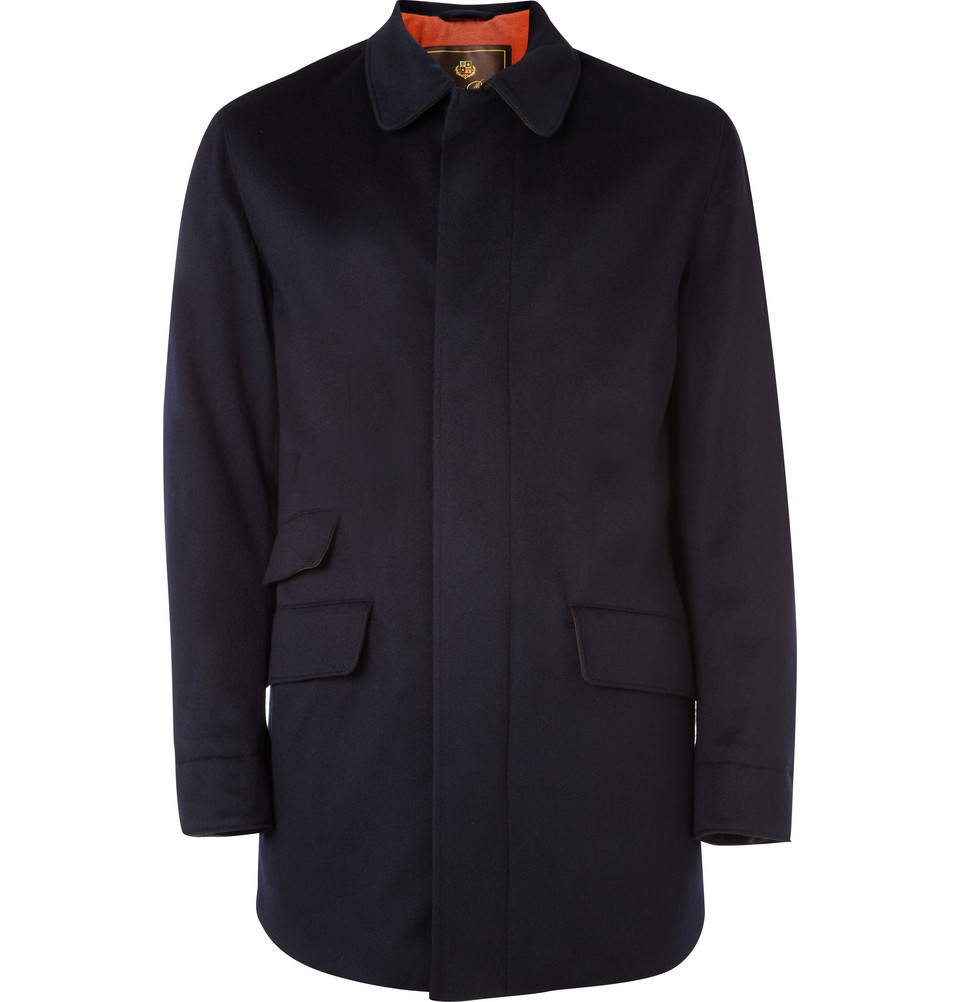 Loro piana Waterproof Cashmere Overcoat in Blue for Men