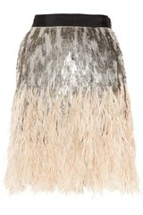 Matthew Williamson Feather and Sequin-embellished Silk Skirt