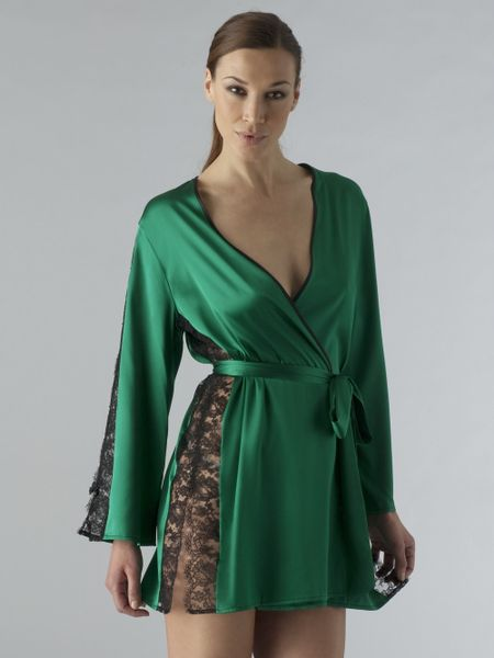 Myla Sarah Short Robe in Green (emerald) | Lyst