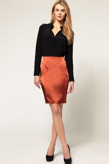 ASOS Collection Asos Metallic Pencil Skirt - Lyst