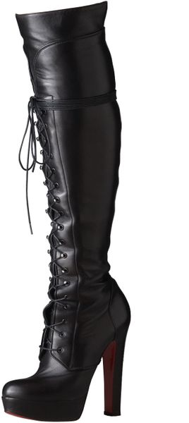 Christian Louboutin Lace-up Platform Over-the-knee Boot in Black - Lyst