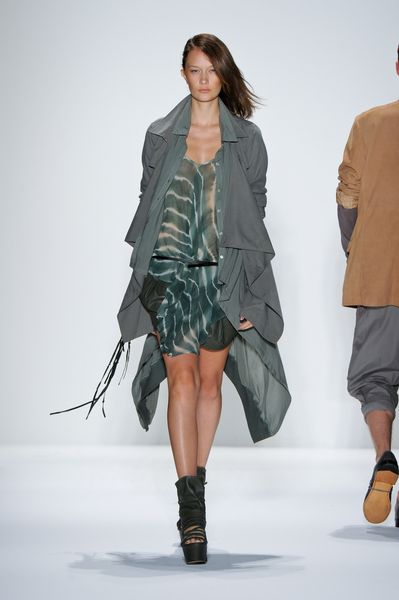 Nicholas K Spring 2012 Olive Draped Coat in Green - Lyst