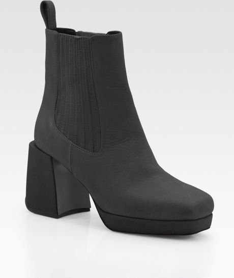pollini plateau leather ankle boots in gray grey lyst. Black Bedroom Furniture Sets. Home Design Ideas