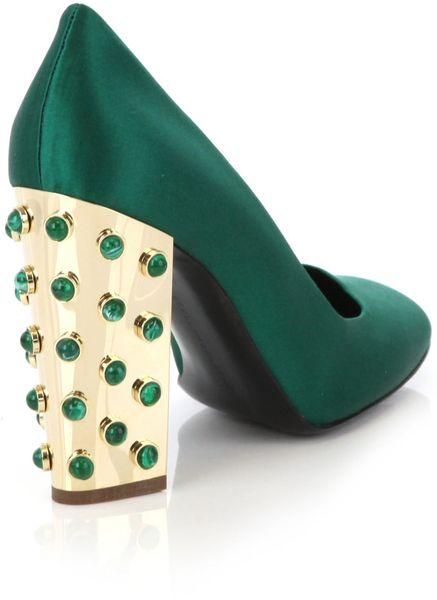Stella Mccartney Green Satin Shoes In Green Lyst
