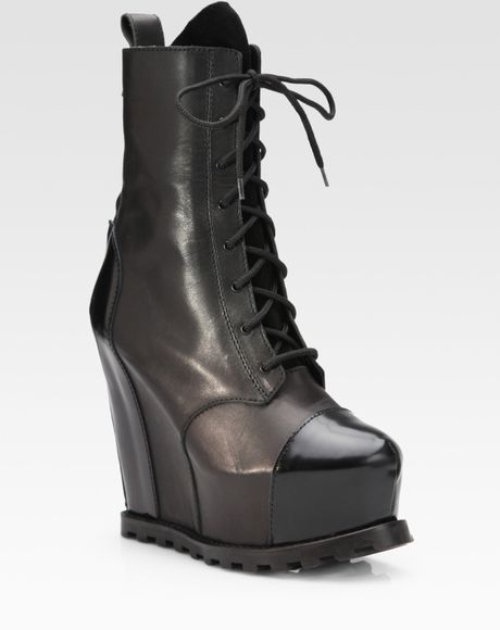 acne studios leather lace up wedge ankle boots in black lyst