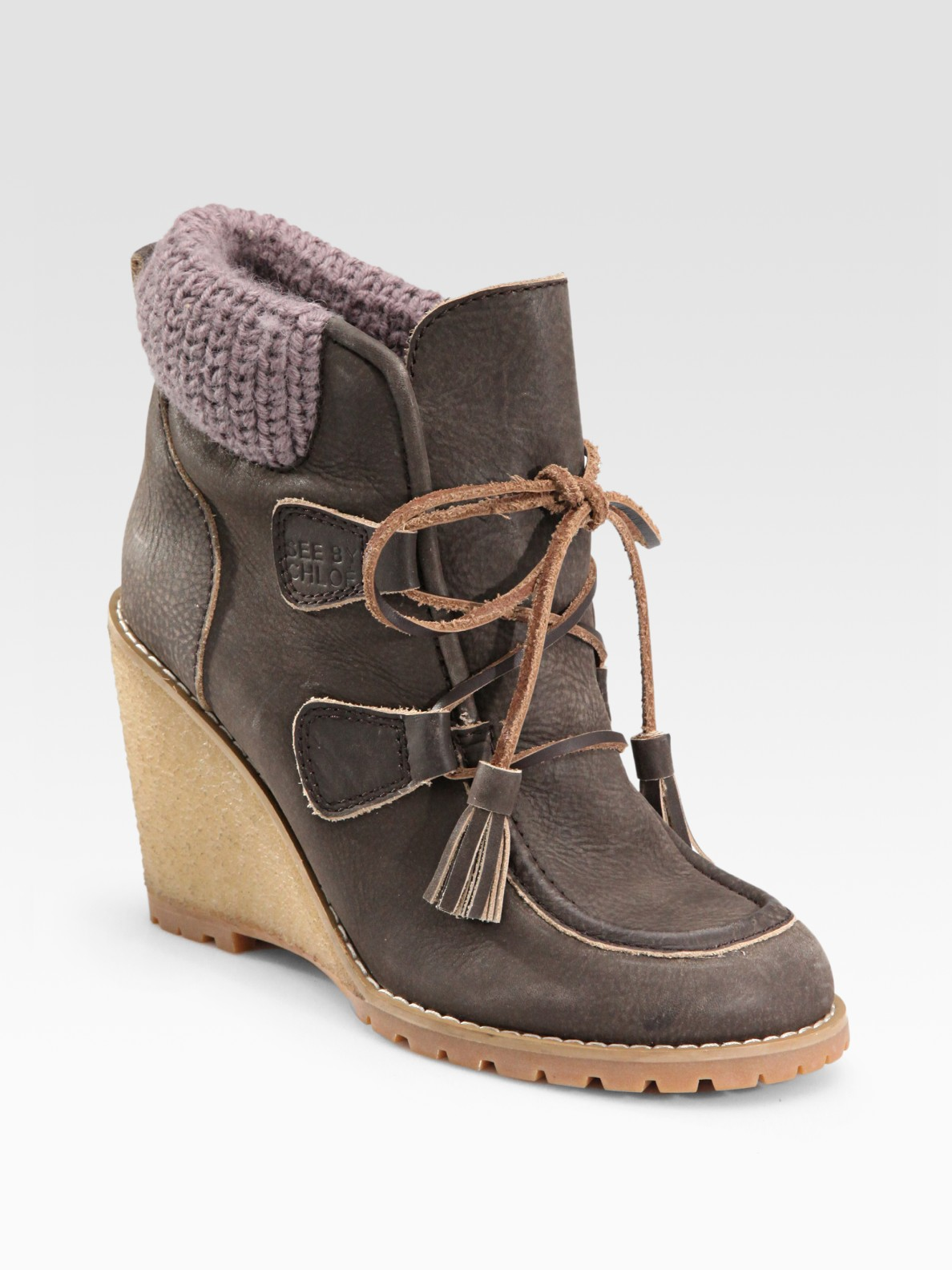 See By Chlo 233 Leather Moccasin Wedge Ankle Boots In Brown