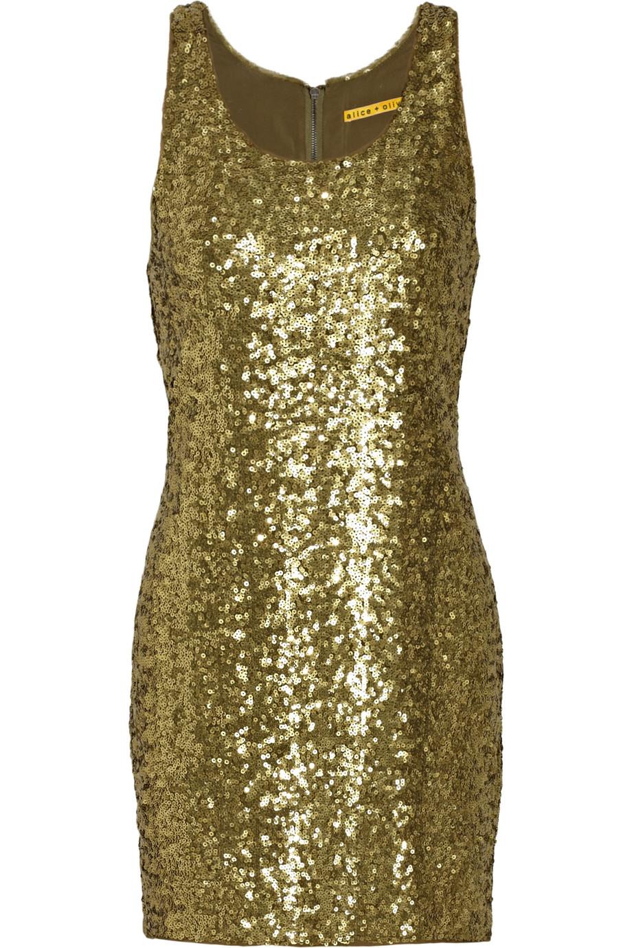 Alice   olivia Gold Sequin Tank Dress in Metallic  Lyst