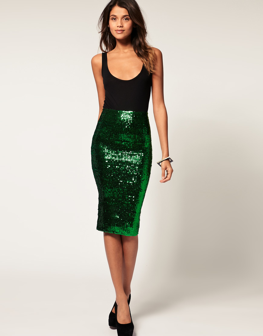 Asos collection Asos Pencil Skirt in Sequins in Green | Lyst