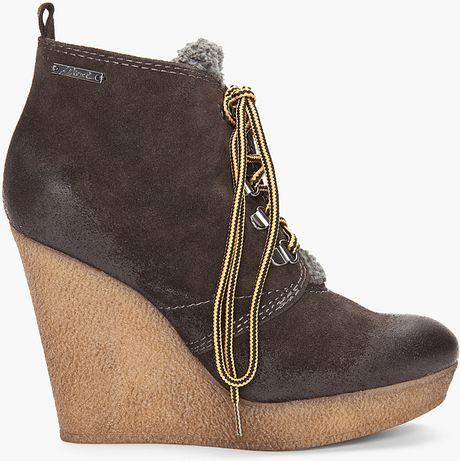 diesel enos wedge boots in brown black lyst