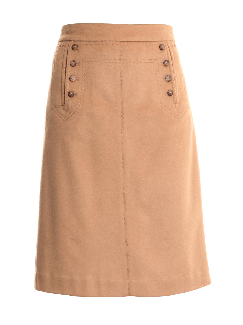 marc by marc high waisted camel skirt in beige