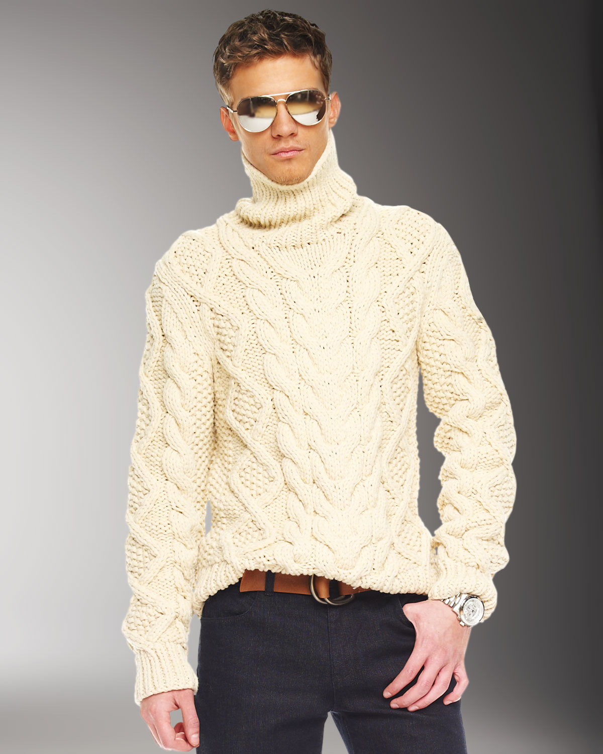 Michael kors Handknit Cable Sweater in Natural for Men | Lyst
