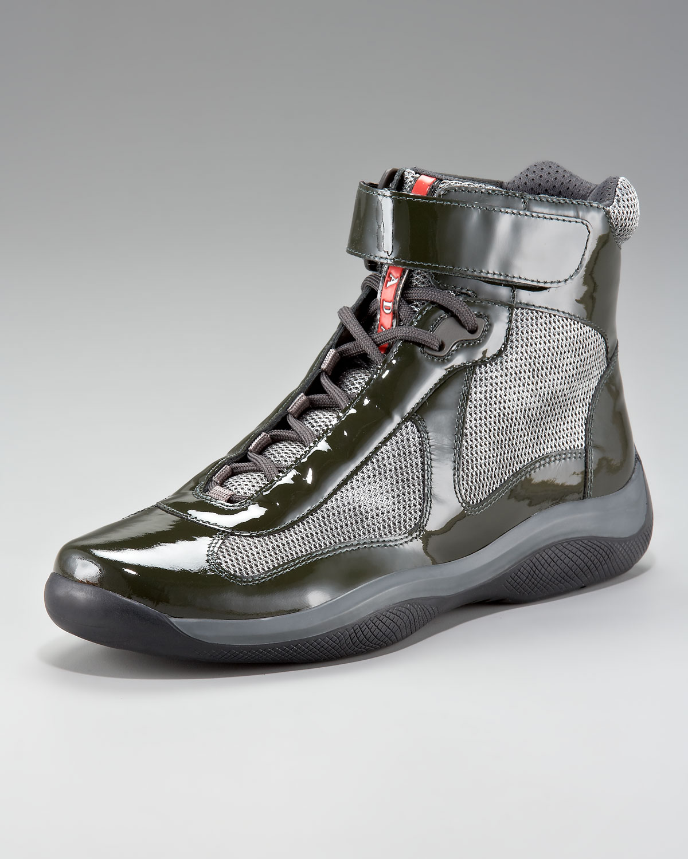 Prada Patent Hi-top Sneaker in Green