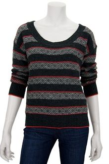 Splendid Fair Isle Sweater in Charcoal and Poppy - Lyst