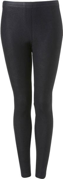 Topshop Wax Coated Denim Leggings in Black (blue)