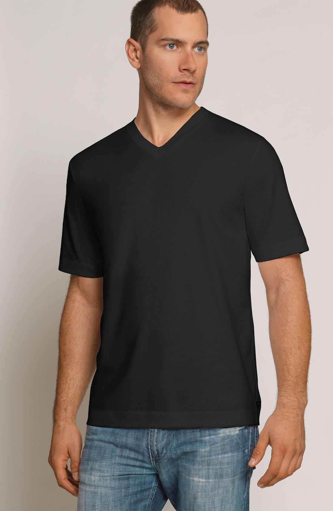 Coopers by jockey outlast v neck t shirt in black for for Jockey v neck shirt