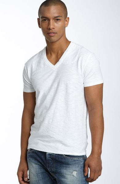 Diesel Tos Extra Trim Fit V-neck Slub T-shirt in White for Men