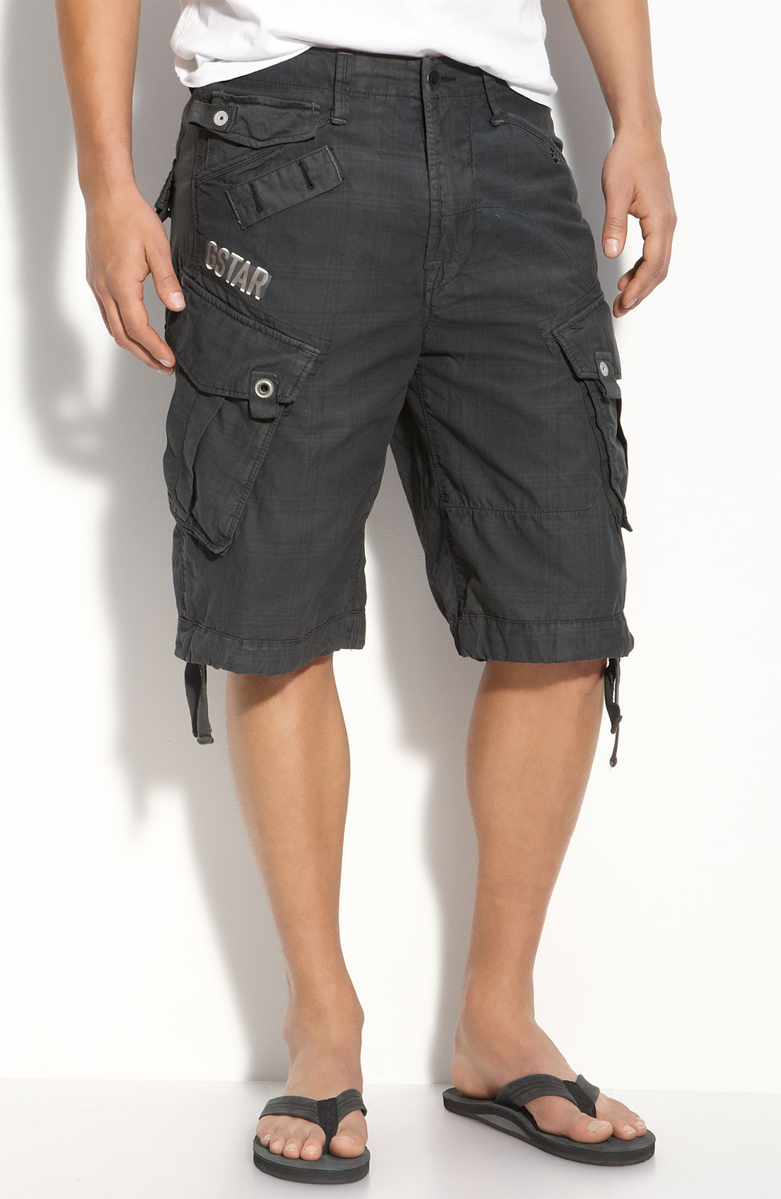 star raw laundry rovic plaid cargo shorts in black for men lyst. Black Bedroom Furniture Sets. Home Design Ideas