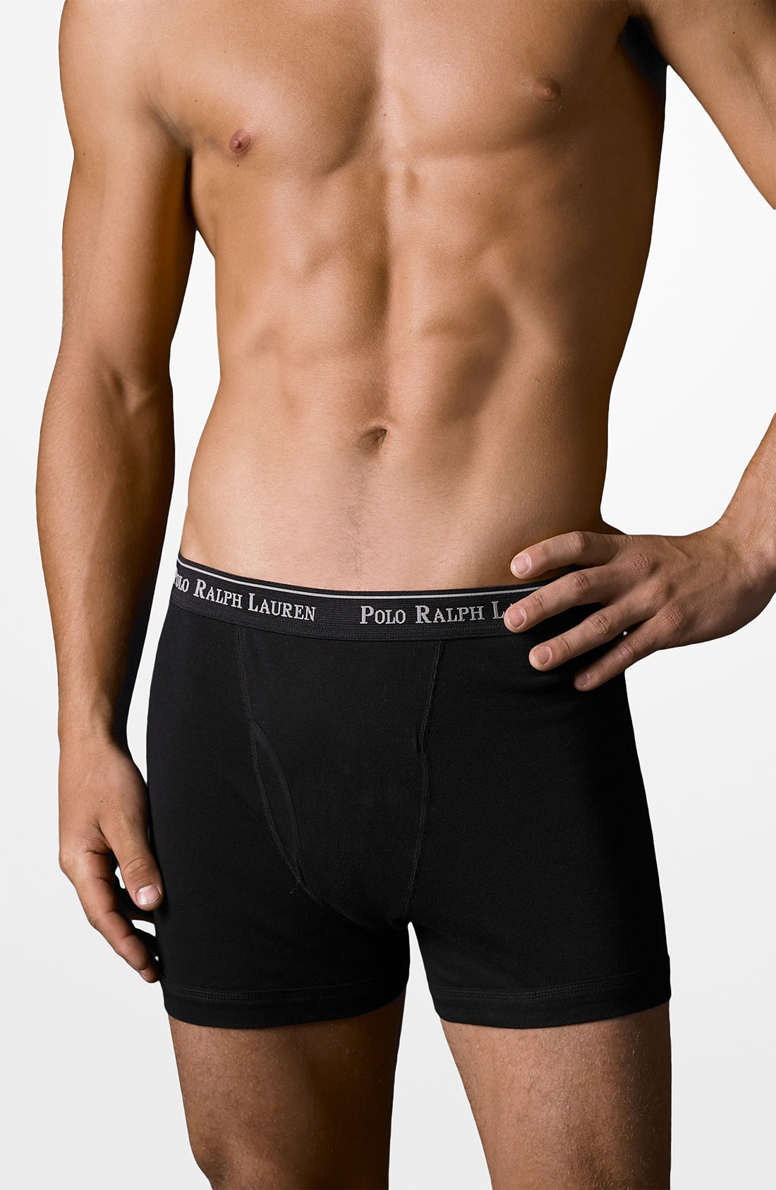 polo ralph lauren three pack cotton boxer shorts in black