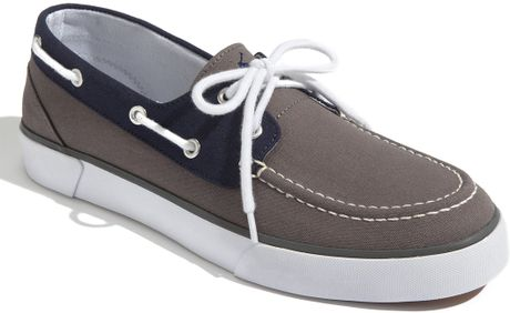 polo ralph lander boat shoe in blue for grey