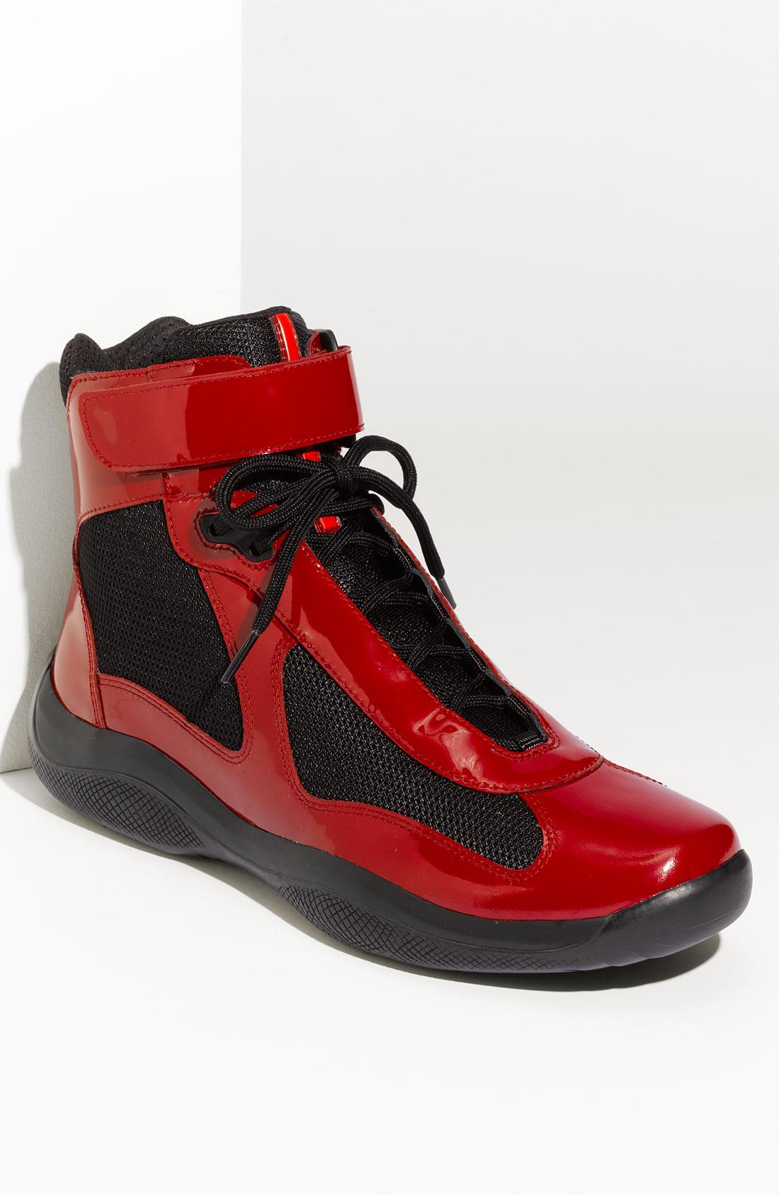 prada purse white - Prada Americas Cup High Top Sneaker (men) in Red for Men (black ...