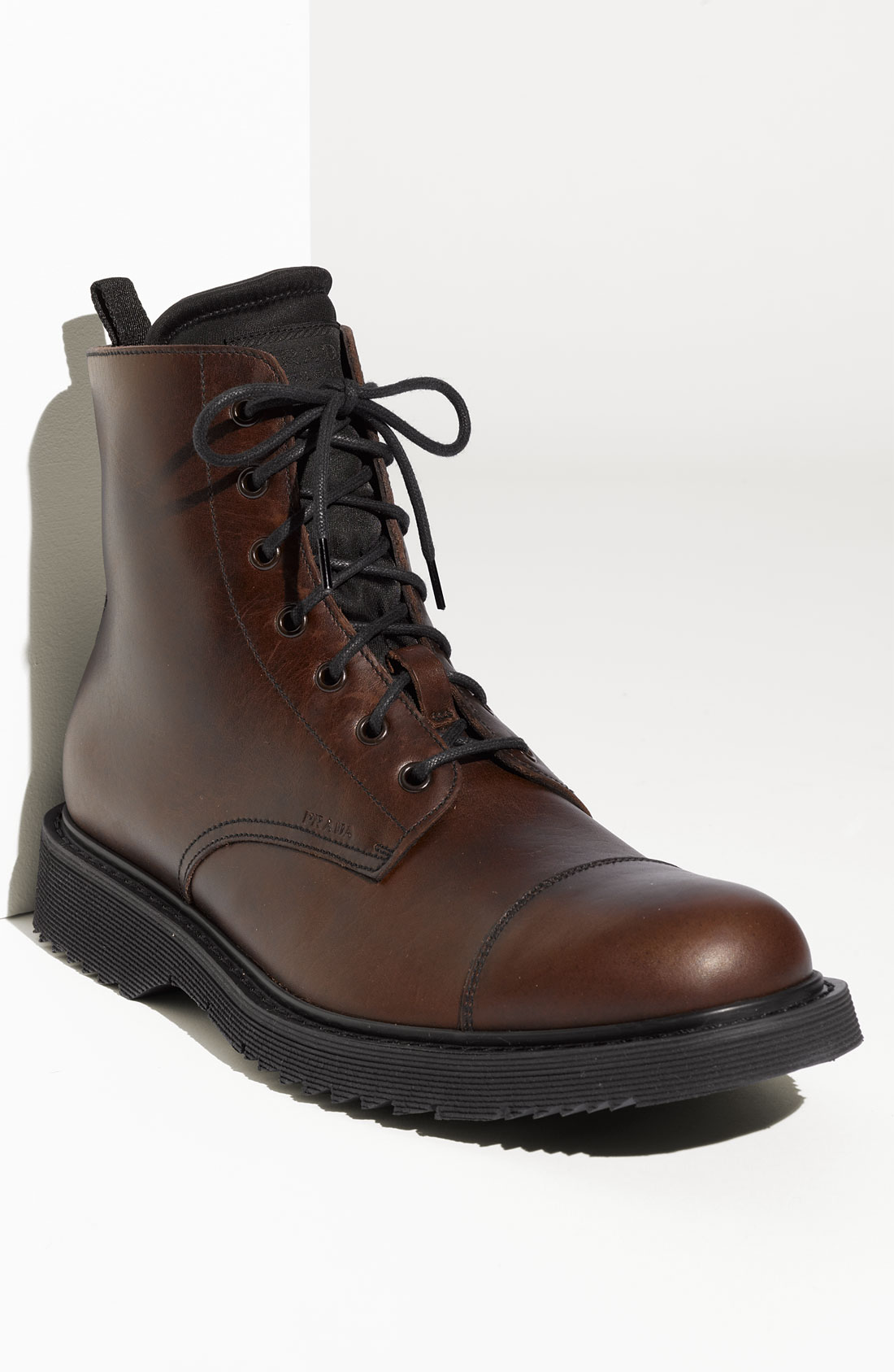 prada casual cap toe boot in brown for lyst