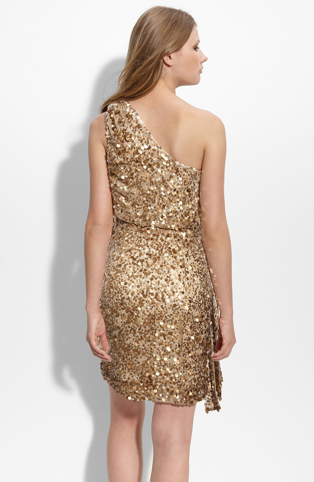 Aidan mattox Sequined One-shoulder Dress in Metallic | Lyst