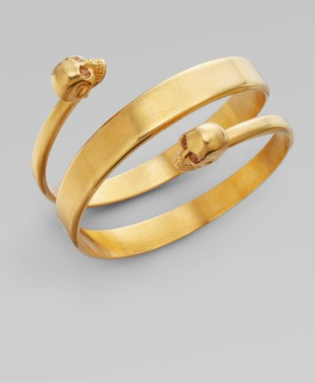 Alexander Mcqueen New Twin Cuff Bracelet/old Gold in Gold