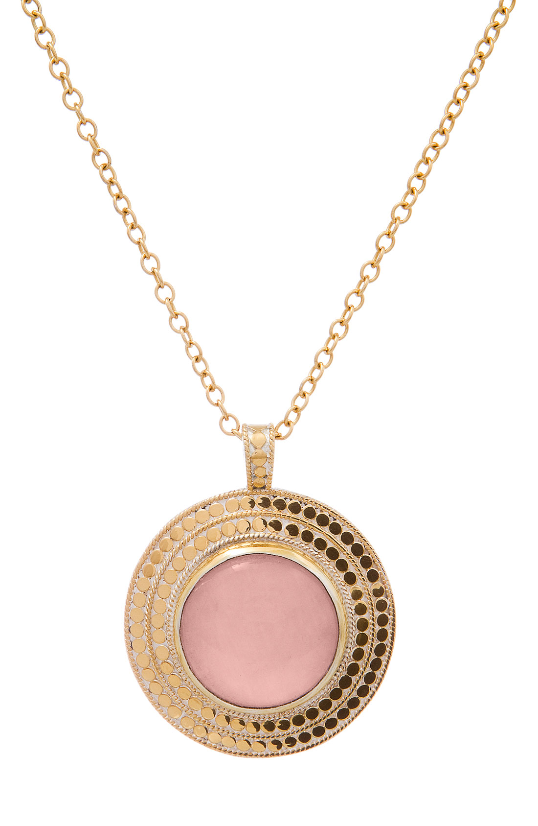 Anna Beck Gili Stone Round Pendant Long Necklace in Gold ...