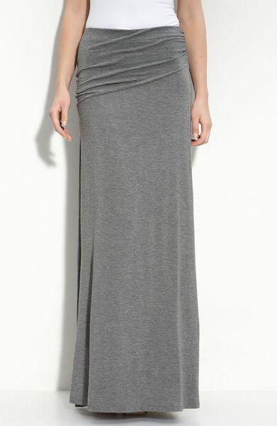 bobeau asymmetric knit maxi skirt in gray charcoal lyst