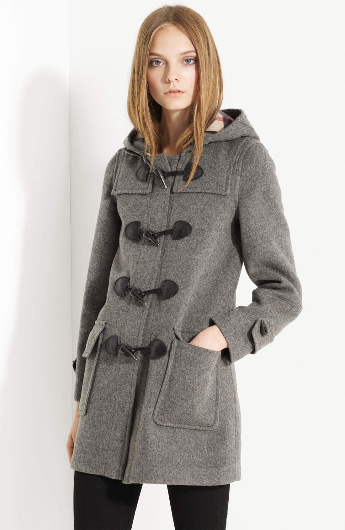 Burberry brit Toggle Front Duffle Coat in Gray | Lyst