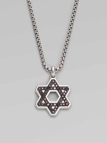 David Yurman Black Diamond Star David Necklace in Silver for Men