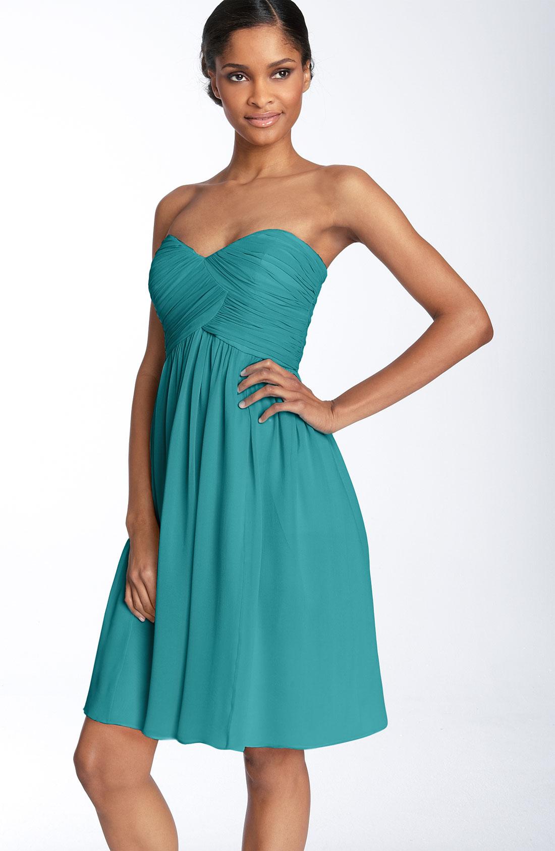 Donna morgan 'Morgan' Strapless Silk Chiffon Dress in Blue | Lyst