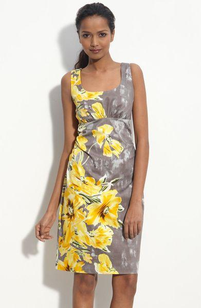 Donna Ricco Print Cotton Sheath Dress In Yellow Pearl
