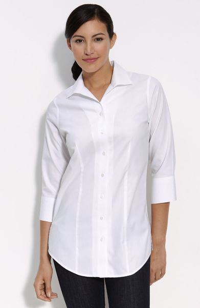 Foxcroft fitted tunic shirt in white lyst for Fitted white dress shirt womens