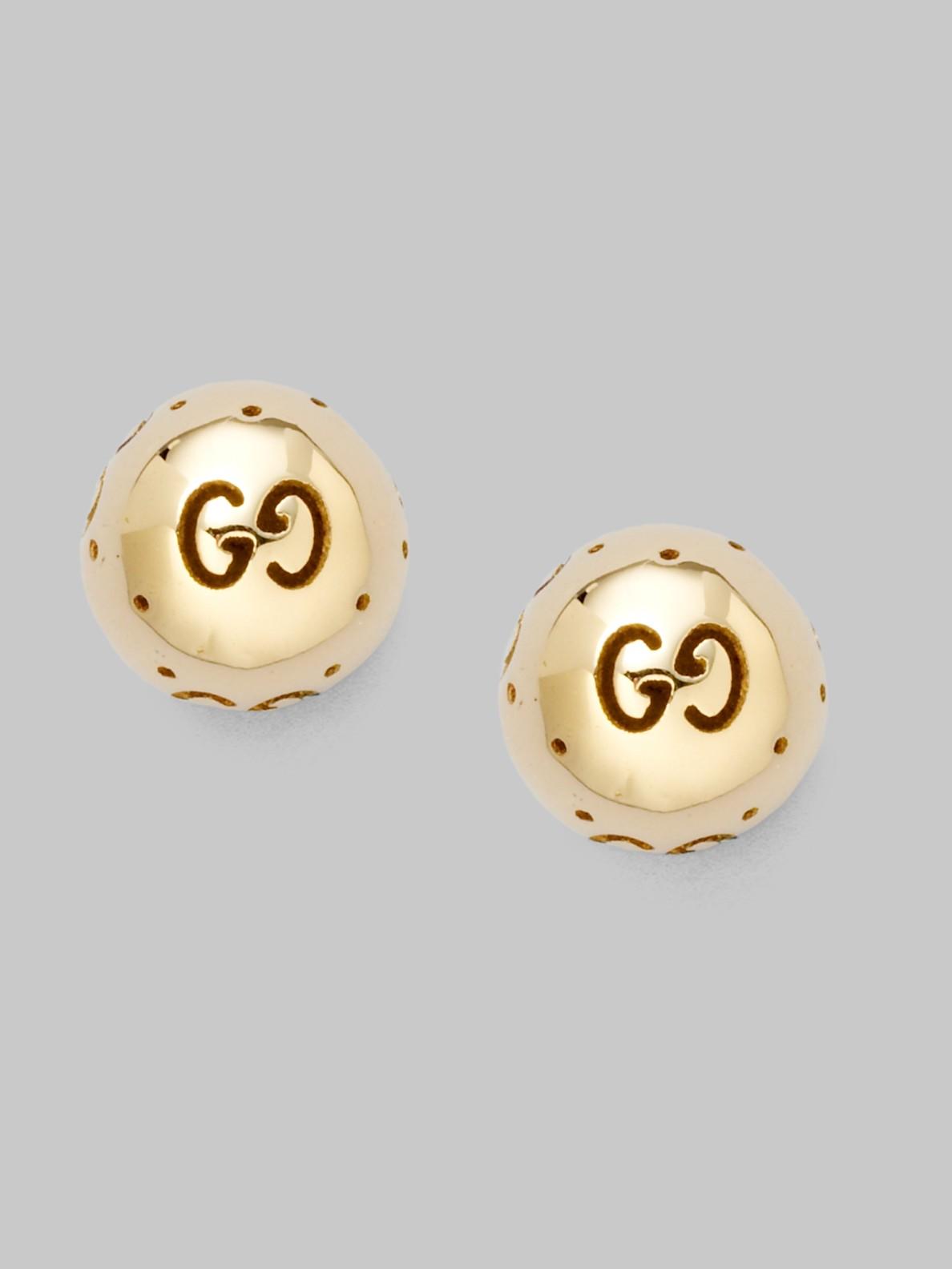 Gucci 18k Yellow Gold Round Stud Earrings In Metallic Lyst