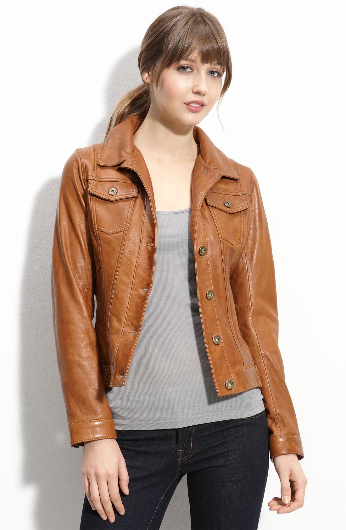 Cognac faux leather jacket