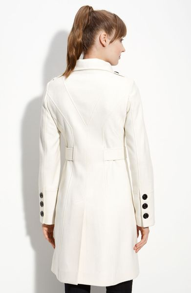 Guess Double Breasted Wool Blend Trench In White Winter