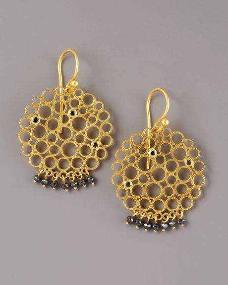 Gurhan Black Diamond Circle Earrings in Gold