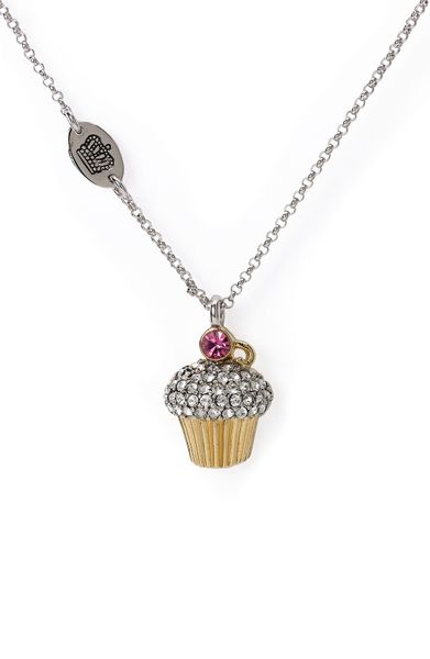 Juicy couture wish pav cupcake necklace in silver pave for Juicy couture jewelry necklace