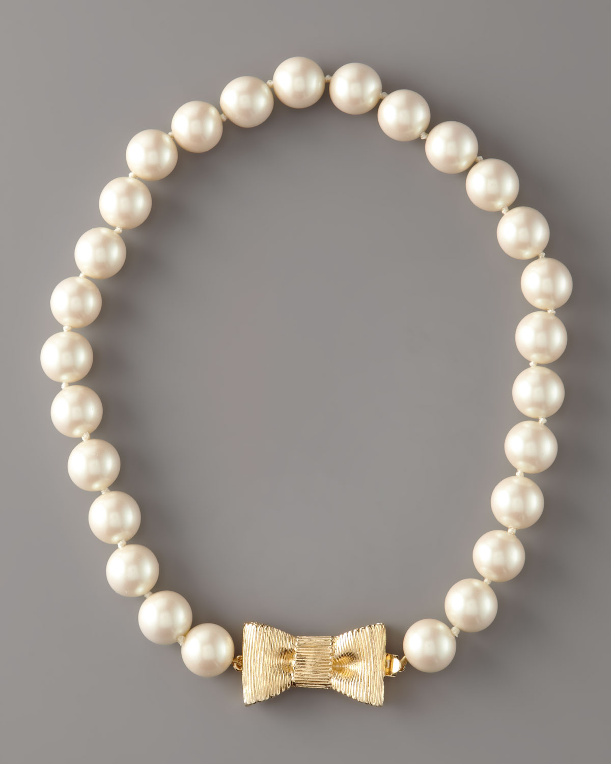 Kate Spade Pearl Bow Necklace: Kate Spade New York Bow- Clasp Pearl Necklace In