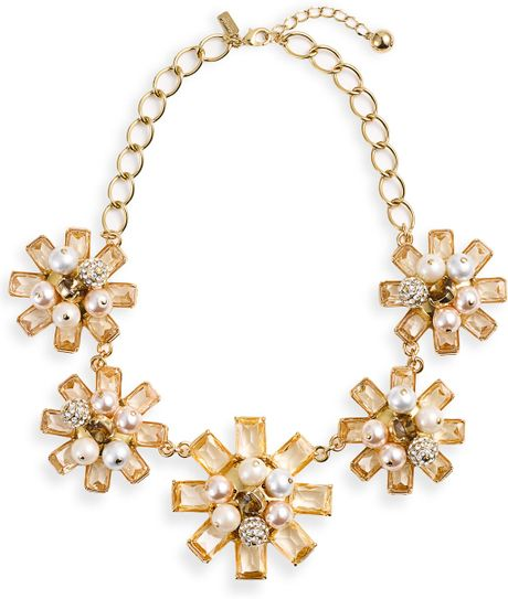 Kate Spade First Blush Floral Statement Necklace in Gold (multi)
