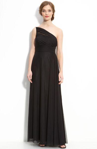 Black bridesmaid dresses nordstrom : Ml monique lhuillier bridesmaids one shoulder mesh gown