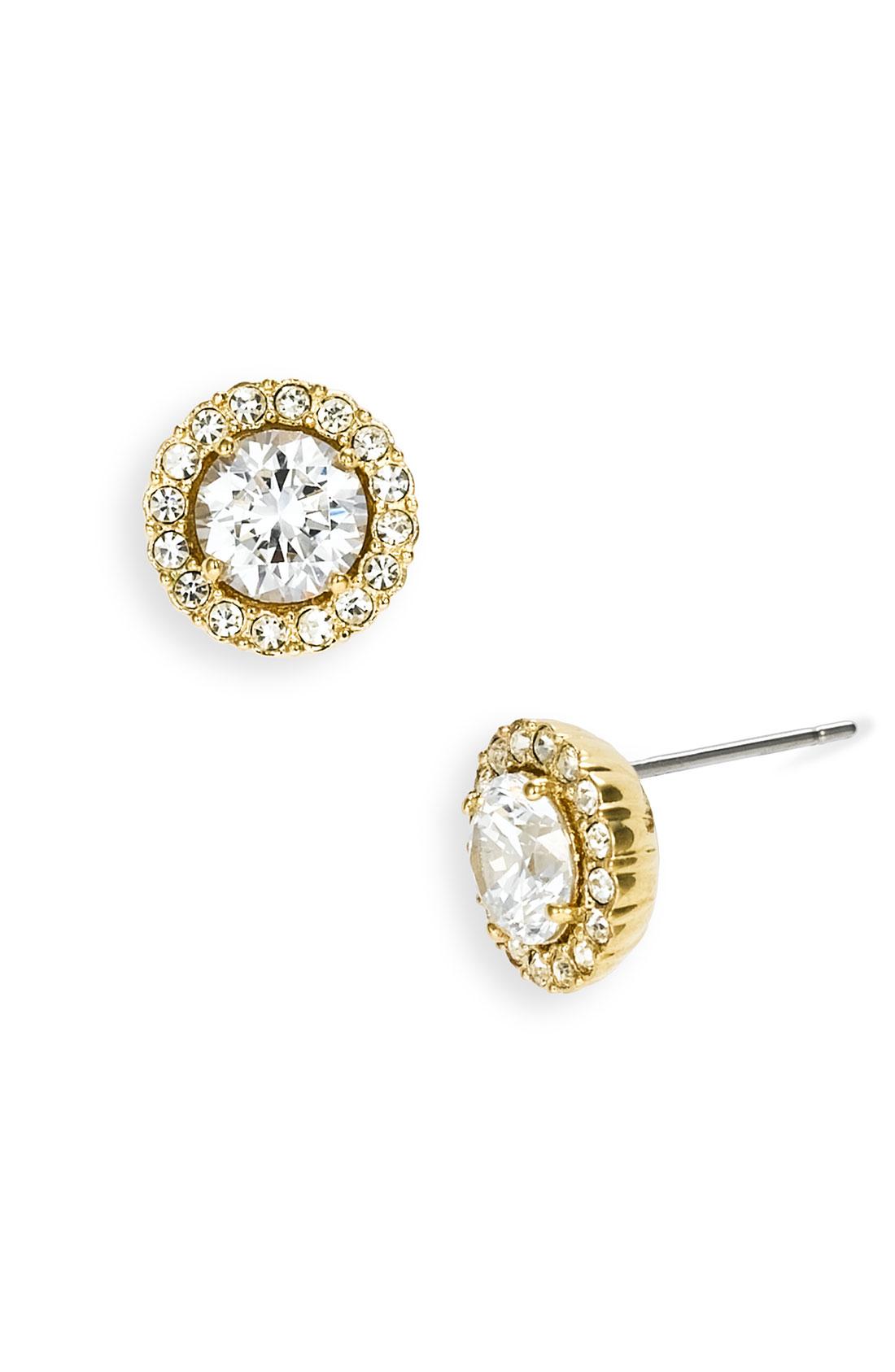 nadri cubic zirconia stud earrings in gold lyst