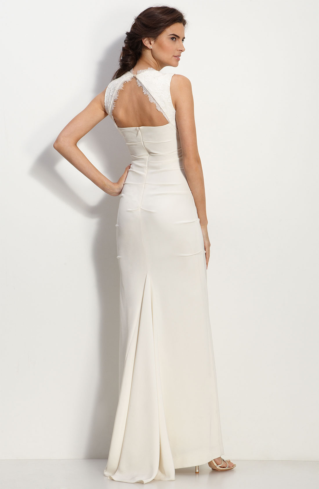 Nicole miller cutout back cr pe de chine gown in white lyst for Nicole miller wedding dresses nordstrom