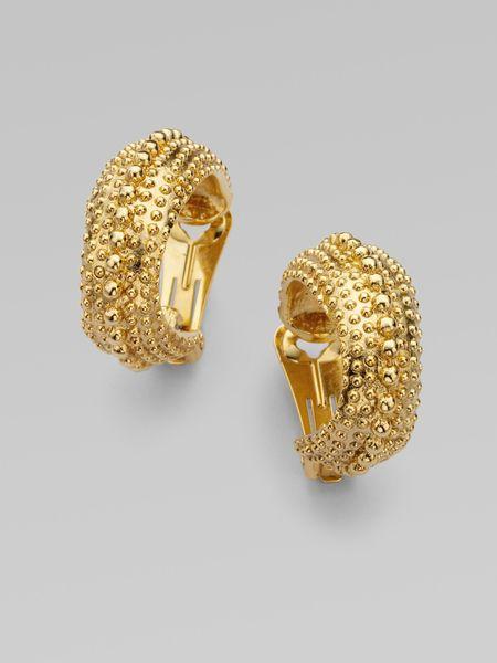 Oscar De La Renta Antiqued Gold Hoop Earrings in Gold