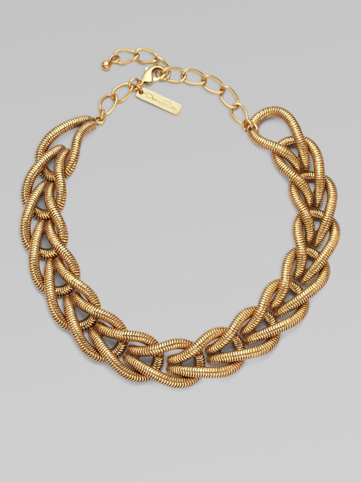 Oscar De La Renta Chain Link Necklace In Metallic Lyst