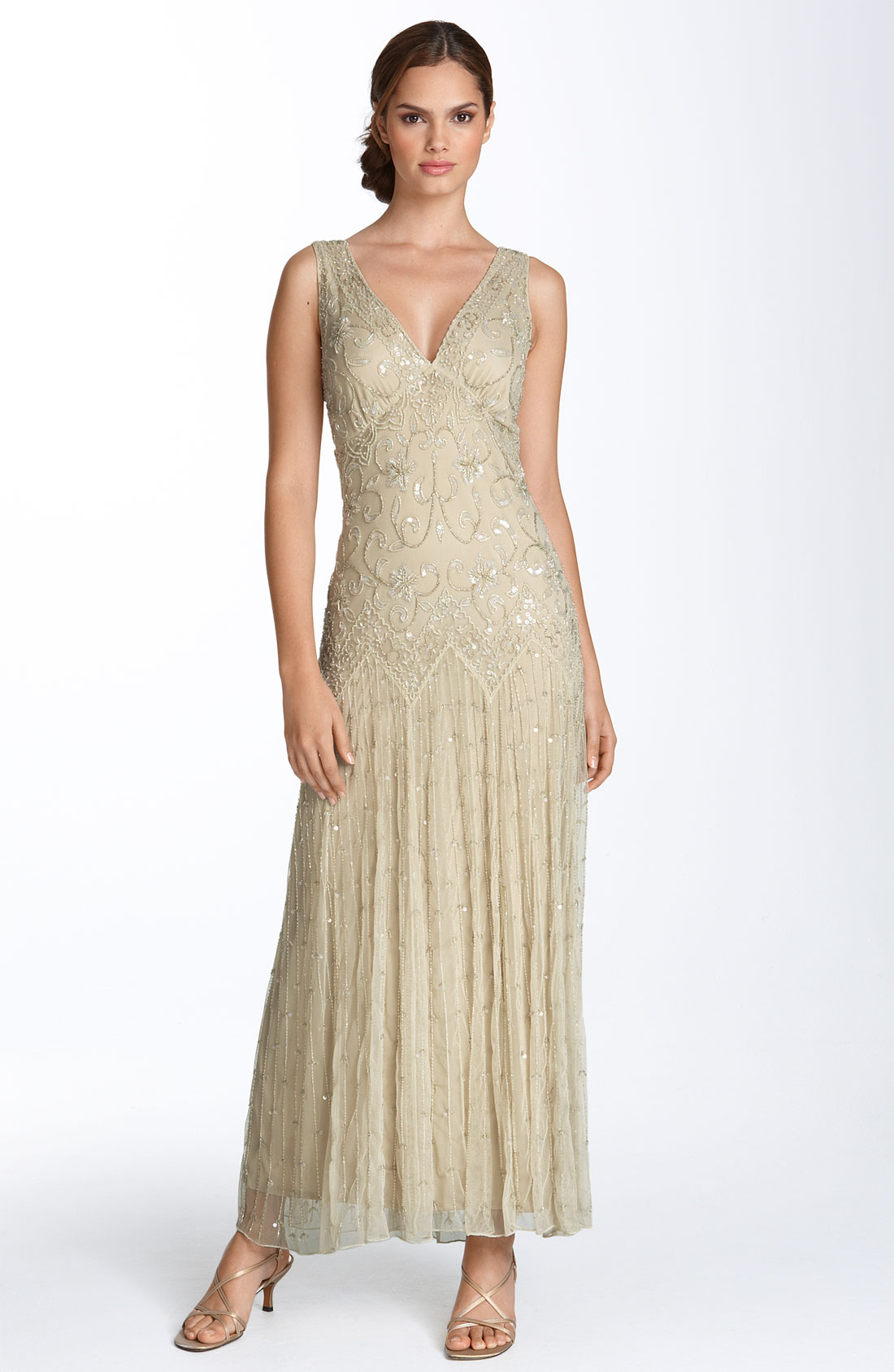 pisarro nights beaded mesh gown in gold chagne lyst